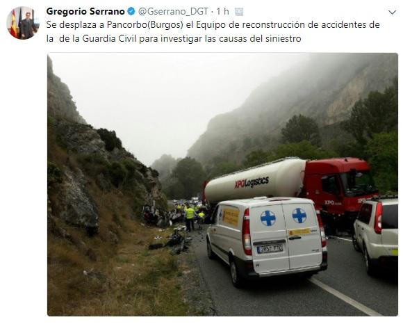 La DGT y Fomento sabían de la peligrosidad del tramo del accidente de Pancorbo y no tomaron medidas efectivas