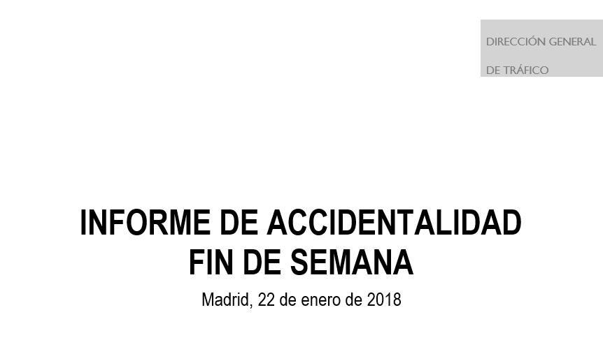 DGT---Accidentes de tráfico - fin de semana 19-21 enero 2018