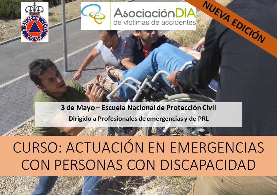 Cartel difusión curso Actuación en Emergencias con Personas con Discapacidad 2018