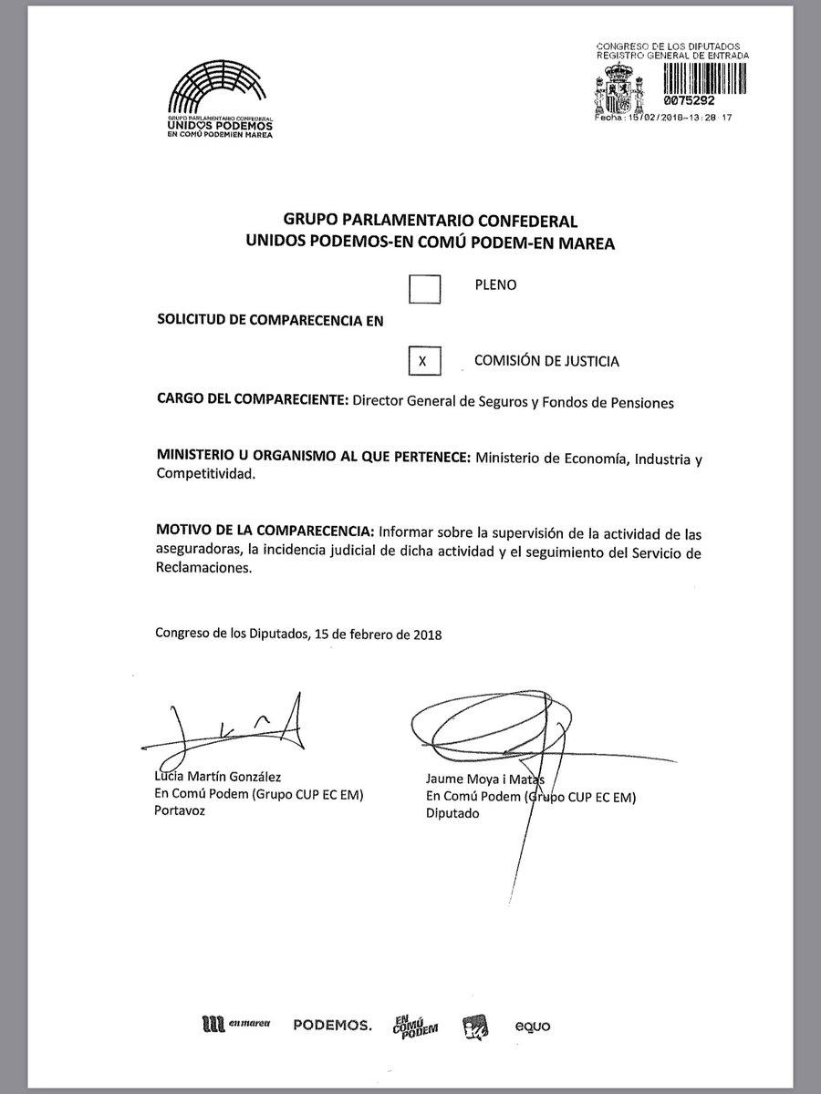Comparecencia Sergio Álvarez DGSFP Congreso Unidos Podemos - Asociación DIA
