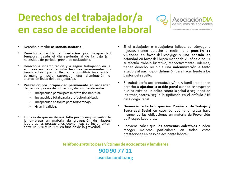 Derechos de los trabajadores-as en caso de accidente laboral