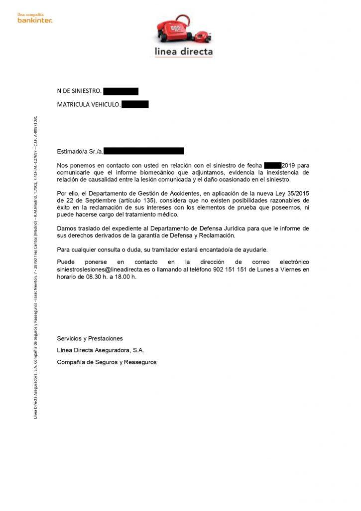 prueba biomecánica - Rechazo de indemnización por lesiones