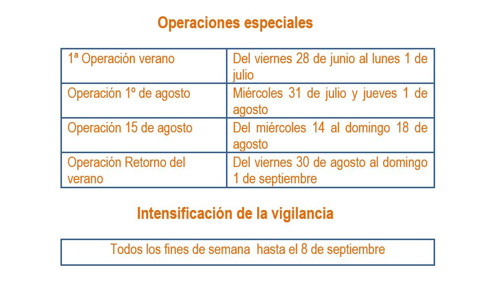 operación especial de tráfico para el verano 2019 vigilancia